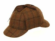 Brown 100% Wool Country Tweed Sherlock Holmes Deerstalker Hunting Drop Ears Hat