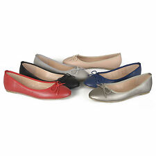 Brinley Co. Womens Classic Bow Round Toe Casual Ballet Flats