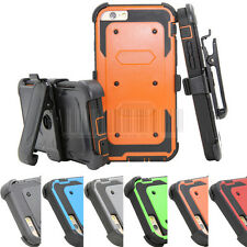 Rugged Heavy Duty Protective Hybrid Tough Case Cover Clip Holster For iPhone