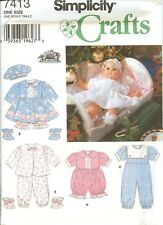 Simplicity 7413 Doll Clothes Girl Baby Dress Hat romper sewing pattern UNCUT FF