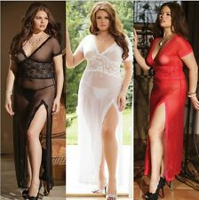 Plus Size Women Sexy Lingerie Babydoll Sleepwear Nightwear Robe Pajama Set M/2XL
