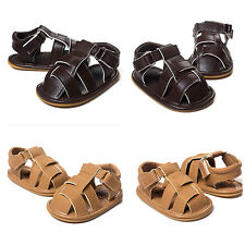 New Baby Kid Boy Sandal Summer Soft Crib Sole Breathable Anti-slip Leather Shoes