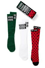 Victoria's Secret PINK 3 Pack Gift Set Knee High Socks ONE SIZE red green white