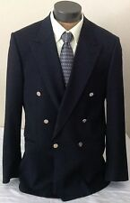 Bachrach Mens 42T Blue Virgin Wool Double Breasted Blazer Gold Buttons