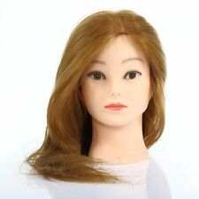 30%-100% Real Human Hair Training Head Mannequin Salon Hairdressing+Free Holder