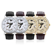 Men Women Unisex Dragon Round Dial Faux Leather Band Strap Wrist Watch Gift BE