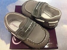 Pediped Originals Norm Gray V Closure Boat Shoe Infant Size Newborn to 24 Months