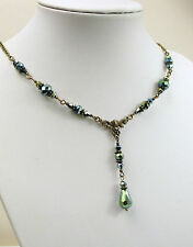 GREEN RAY TEARDROP CRYSTAL VINTAGE VICTORIAN FASHION STEAMPUNK NECKLACE SET