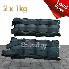 2x 1kg Ankle Wrist Weights Double Straps Soft Satchel GYM Equipment Fitness Yoga