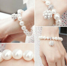 Rhinestone Imitation Pearl Ball Beading Women Bangle Bracelet Fashion Jewelry