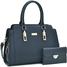 New Dasein Womens Handbags Faux Leather Satchel Tote Bag Large Purse w/ Wallet
