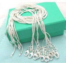 Wholesale 5pcs/Lot Mens Womens Silver Plated Snake Necklace Chain 16-24 inch 1mm