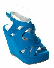 WOMENS BLUE SUEDE SUMMER PLATFORM SHOES WEDGE STRAPPY SANDALS LADIES UK SIZE 3-8