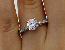 1.50 Ct 14K White Gold Round w Pave Side Stones Engagement Bridal Promise Ring