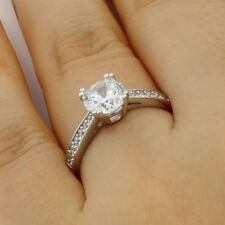 1.50 Ct 14K White Gold Round Pave Side Stones Engagement Bridal Promise Ring