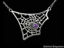 Sterling Silver Gemstone Abdomen Spider Web Necklace
