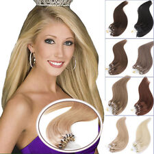 "7A Straight Micro Bead Loop Ring Remy Human Hair Extensions 16""-24""1G/S100S 50S"