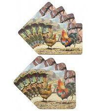 Macneil 4 x Cockerel & Hen Table Mats PlaceMats Or 4 Coasters Lesser Pavey Gift
