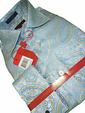 Mens Leonardi High Collar French Cuff Shirt Edition 397 Blue Pearl Paisley
