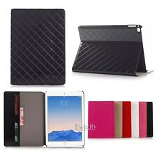 Folio Magnetic Grid Wallet Leather Stand Case Smart Cover For Apple iPad Air 2