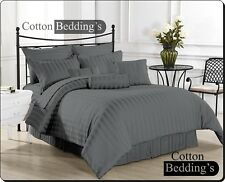 LUXURY 1000 TC GRAY STRIPED SATIN SILKY COMPLETE UK SIZE SHEET SET & DUVET SET