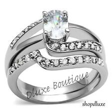 1.50 Ct Oval Cut CZ Stainless Steel Wedding Engagement Ring Set Women's Sz 5-11