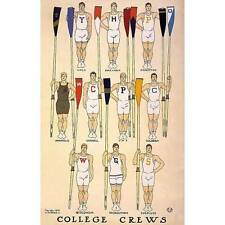 NEW! Vintage Rowing Crew University Yale Harvard Princeton Art Print Poster