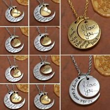 ANTIQUE SILVER GOLD PLATED NECKLACE I LOVE YOU TO THE MOON & BACK PENDANT FATHER