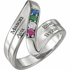 Name Engraved Family Ring Mother's Jewelry Sterling Silver 1-5 Round Birthstones