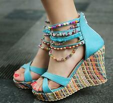 Fashion Womens Bohemian Pearl Strappy Ankle Wedge Platform Beach Sandals Shoes