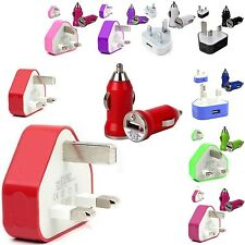 CE COLOUR WALL MAINS USB+CAR BULLET CHARGER FOR SAMSUNG GALAXY S2 S 2 II I9100