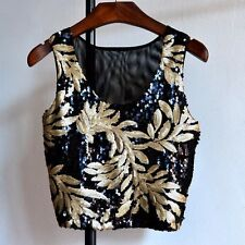 Women Sequined Bling Shiny Floral Tank Top Casual Shirt Sleeveless Summer Blouse