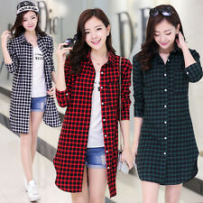 Korean Womens Casual Career Plaid Buttons Down Long Shirt Tops Blouse Plus Size