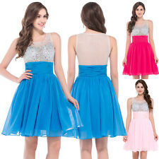 Beadings Chiffon Ball Short Party Cocktail Bridesmaid Dress Evening Prom Gown