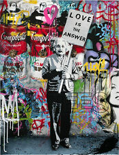 Banksy T-Shirt Einstein Love is the Answer Mens Ladies T-Shirts Tops Vests S-XXL
