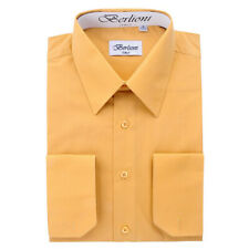 BERLIONI ITALY MEN'S CONVERTIBLE CUFF SOLID ITALIAN FRENCH DRESS SHIRT MUSTARD