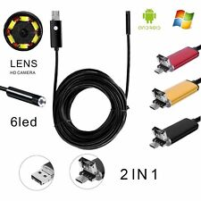 2.0MP HD Android USB Endoscope Borescope Waterproof Tube Snake Camera Phone+PC