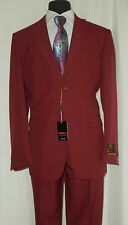 Mens ANGELO 2-Piece Suit in Rich Burgundy 2 Button Classic Tailored Jacket