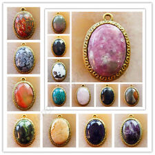 Wholesale!3Pcs Gorgeous Bronze Inlay Mixed Gemstone Oval Pendant Bead XLZ-626