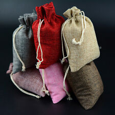 LOT 10x14CM Natural Jute Hessian Drawstring Pouch Burlap Wedding Favor Gift Bags