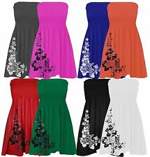 New Ladies Plus Size Floral Sheering Strapless Mini Dress 8-20