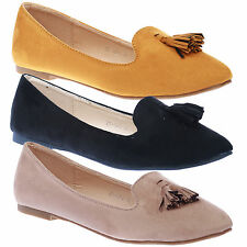 Agatha Womens Flats Slip On Tassel Ladies Ballet Flats Shoes Pumps Work Casual S