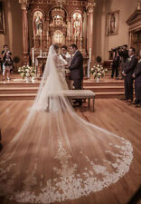 White/Ivory Cathedral 1 Tier Purfle 3 M Bridal Wedding Veils Lace With Comb