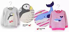 MINI ZONE Girls Jumpers 2 Designs Penguin or Whale Good Quality Grey/Pink COTTON