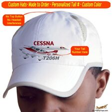 Cessna Stationair Turbo 206 H Airplane Pilot Hat - Personalized with N#