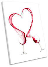 Wine Glass Red Heart Kitchen Framed CANVAS WALL ART Picture Print