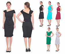 WOMENS CLASSY EVENING PARTY COCKTAIL DRAPED PENCIL DRESS KNEE LENGTH DRESS