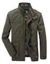 Fashion Mens Military Bomber Coat Cotton Zip Button Long Padded Jacket Outerwear