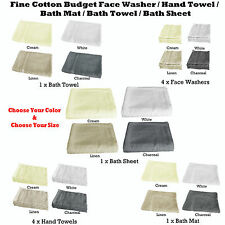 Budget 380gsm COTTON Face Washers, Hand Towels, Bath Mat, Towel, Sheets Choice
