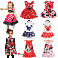 Kids Baby Girls Minnie Mouse Dress Cartoon Tops Clothes Party Skater Mini Skirts